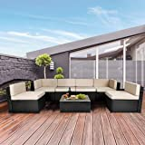 U-MAX 7 Piece Outdoor Patio Furniture Set, PE Rattan Wicker Sofa Set, Outdoor Sectional Furniture Chair Set with Cushions and