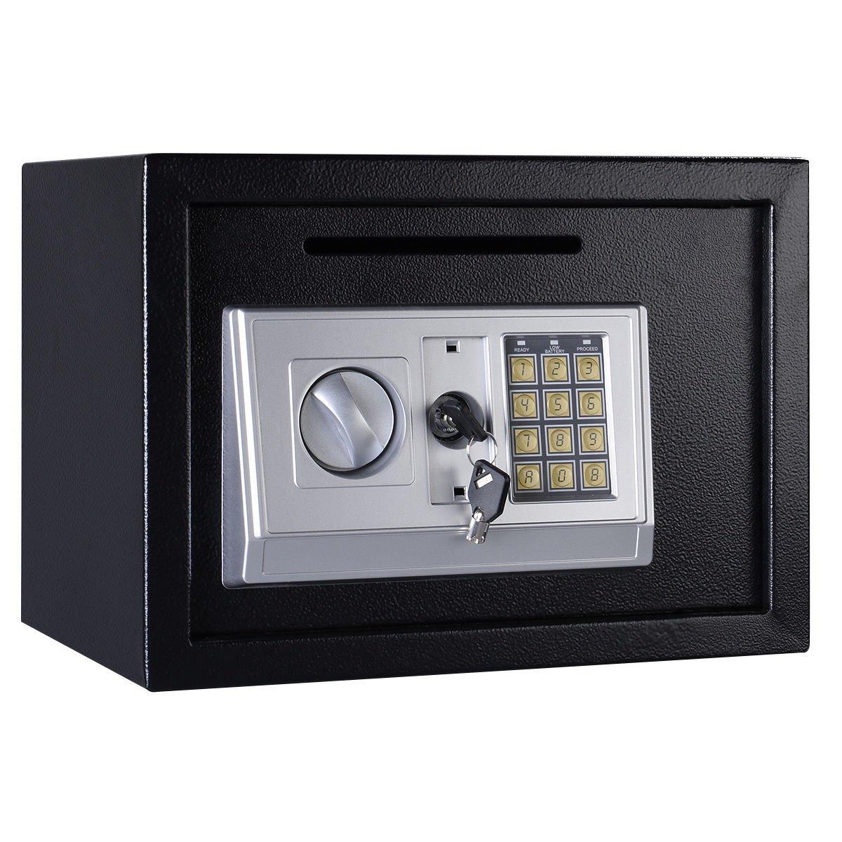 Giantex 14'' Digital Depository Drop Gun Jewelry Home Hotel Lock Cash Safe Box (Black)
