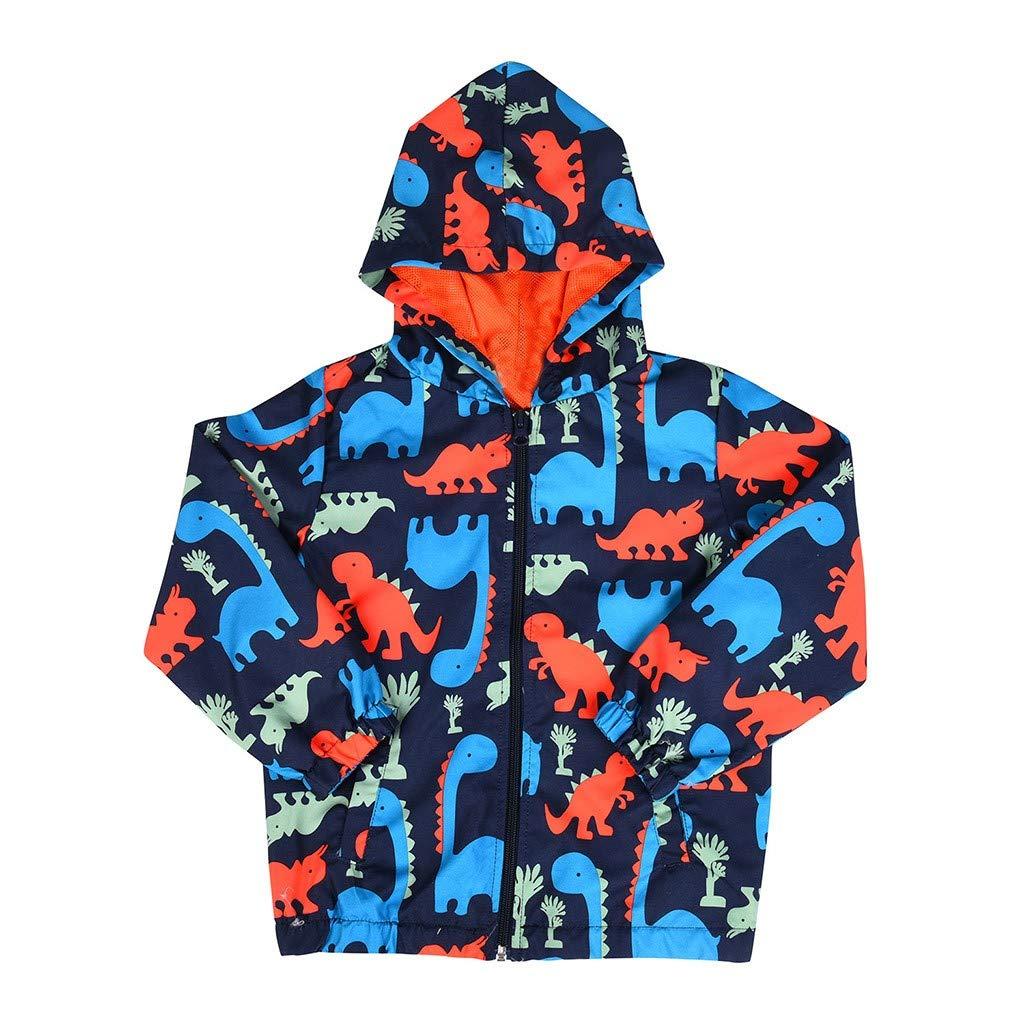 Kirbyates Children Boys Girls Winter Warm Windproof Long Sleeves Cartoon Dinosaur Printed Zipper Coat Clothes