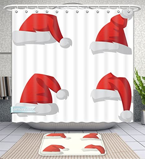 Unique Custom Bathroom 2 Piece Set Santa Christmas Hat Illustration Red Top Isolated