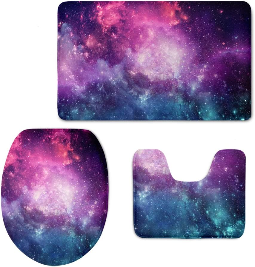CHAQLIN 3D Universe Space Washroom Accessories 3 Piece Bath Rug Flannel Toilet Floor Mat Lid Covers