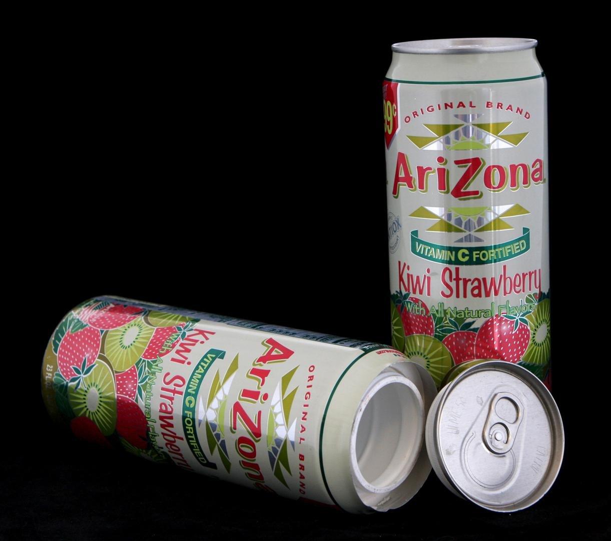 Arizona Kiwi Strawberry Diversion Safe Can Container+Free Pack of 1 1/4 Rasta Wrap