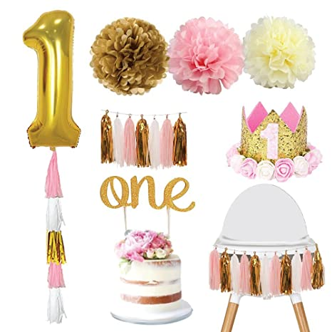 One Year Old Girl Birthday Decorations Kit
