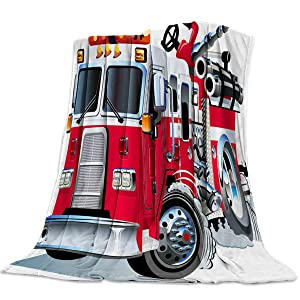 Lightweight Warm Luxury Throw Blanket Fannel Fleece Twin Size Bed Blanket Big Fire Truck Safety Rescue Team Engine Cartoon Print Super Soft Reserviber Blanket for All Season Bed Couch Sofa 39x49 Inch