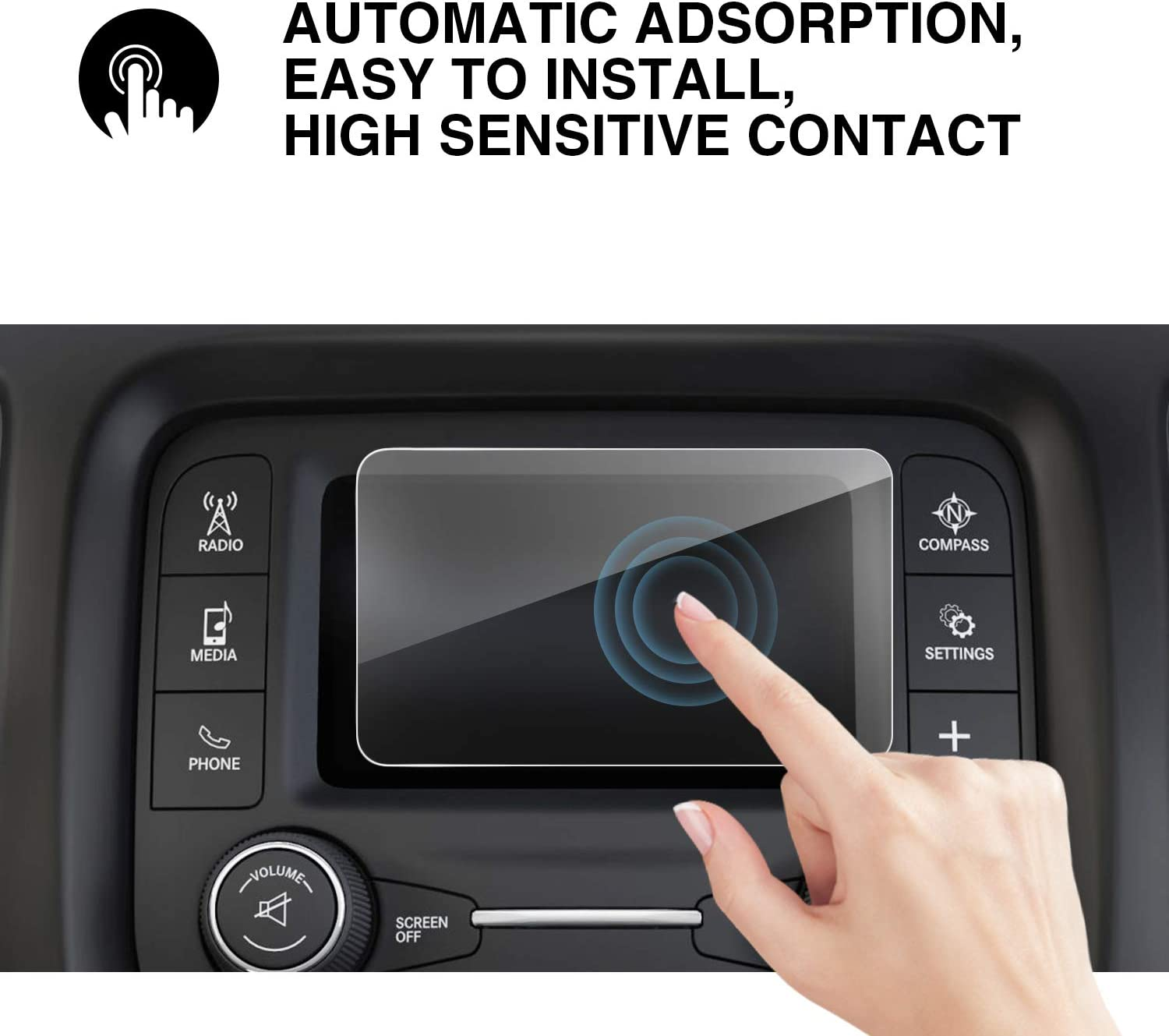 YEE PIN 2018 Wrangler 7 in Screen Protector for 2018 Wrangler JL Center Control Touch Screen Car Navigation Display Glass Protective Film Anti-Scratch High Clarity 7-Inch