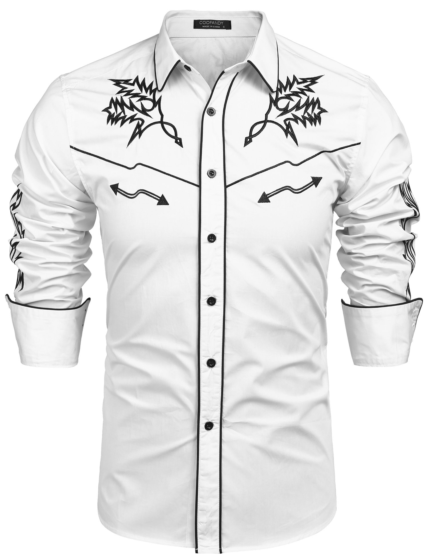 COOFANDY Men's Long Sleeve Embroidered Shirt Casual Slim Fit Button Down Western Shirts ,White ,Large