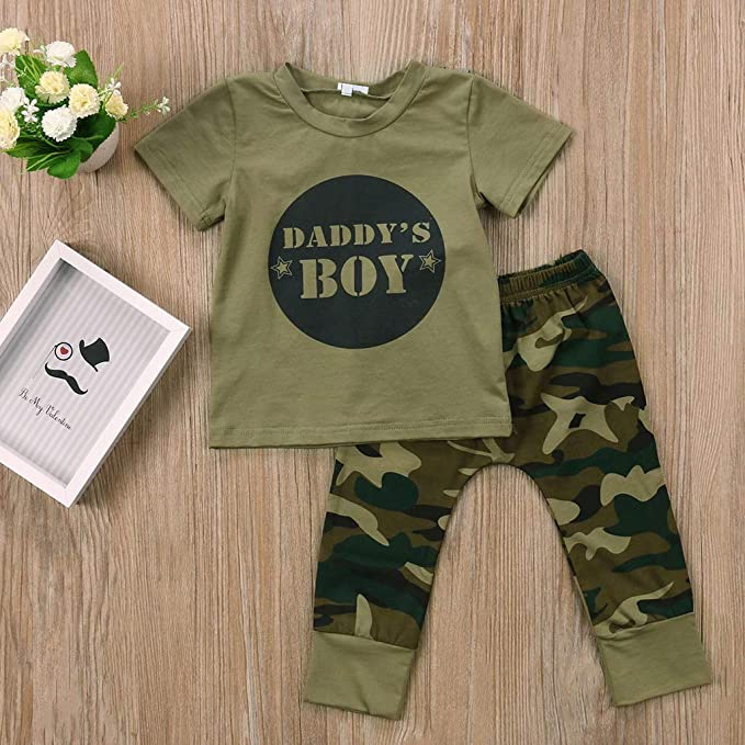 Newborn Baby Kids Boys Girls Camo T-shirt Tops Pants Outfits Set Clothes 0-24M