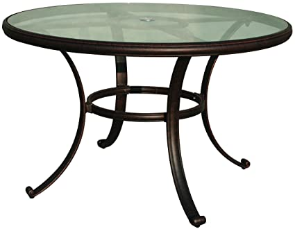 Darlee Cast Aluminum Glass Top Round Dining