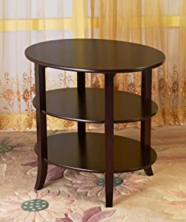 Beautiful Frenchi Home Furnishing 3 Tier Oval End Table, Espresso