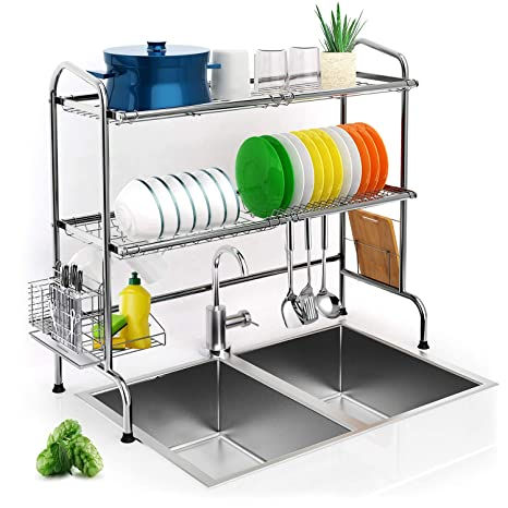 Over The Sink Dish Drying Rack.Over Sink Dish Drying Rack Ibesi 2 Tier Stainless Steel Stable Dish Drainer Shelf Rust Free Multifunctional Storage Organizer With Utensils Holder