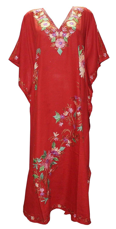 36949a41d6156 Odishabazaar Kashmiri Long Kaftan with Ari Hand-Embroidered (pl1684)  (Multi-1895) at Amazon Women's Clothing store: