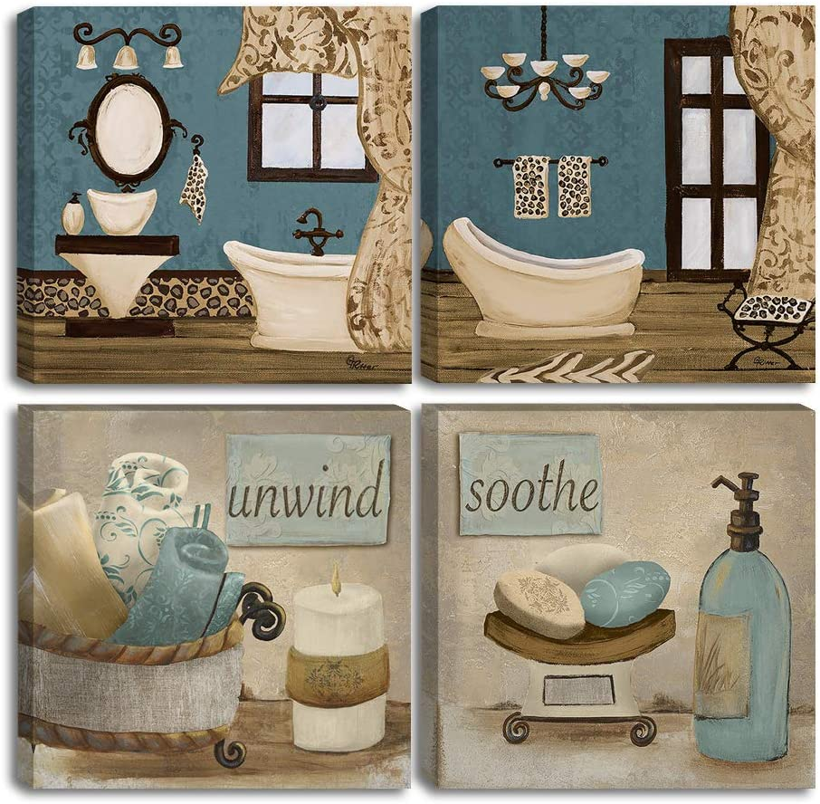 "VIIVEI Vintage Retro Teal Bathroom Canvas Poster Wall Art Decor Artwork Blue Bathroom Wall Art 4 Pieces Canvas Blue Teal Wall Decor Pictures for Bathroom Living Room Framed Ready to Hang (16""x16"")"
