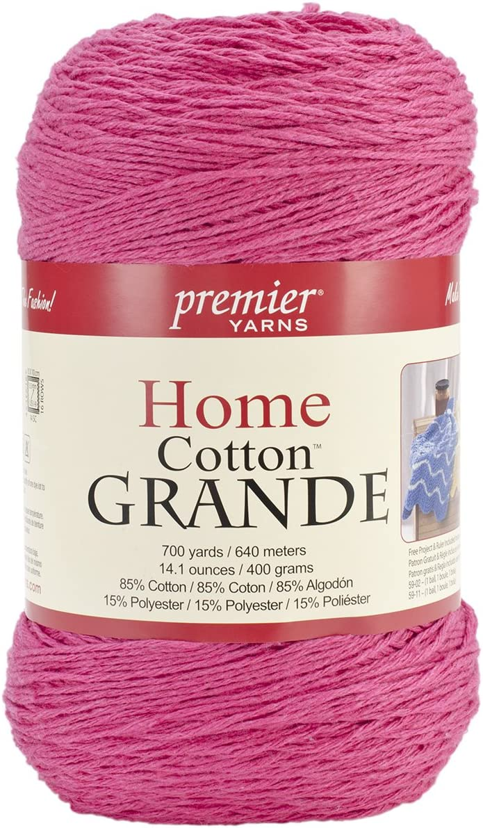 Premier Yarns Solid Home Cotton Grande Yarn, Fuchsia