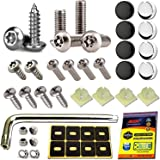 Aootf Anti Theft License Plate Screws - Stainless Steel Tamper Resistant Locking License Plate Security Screws Fasteners…