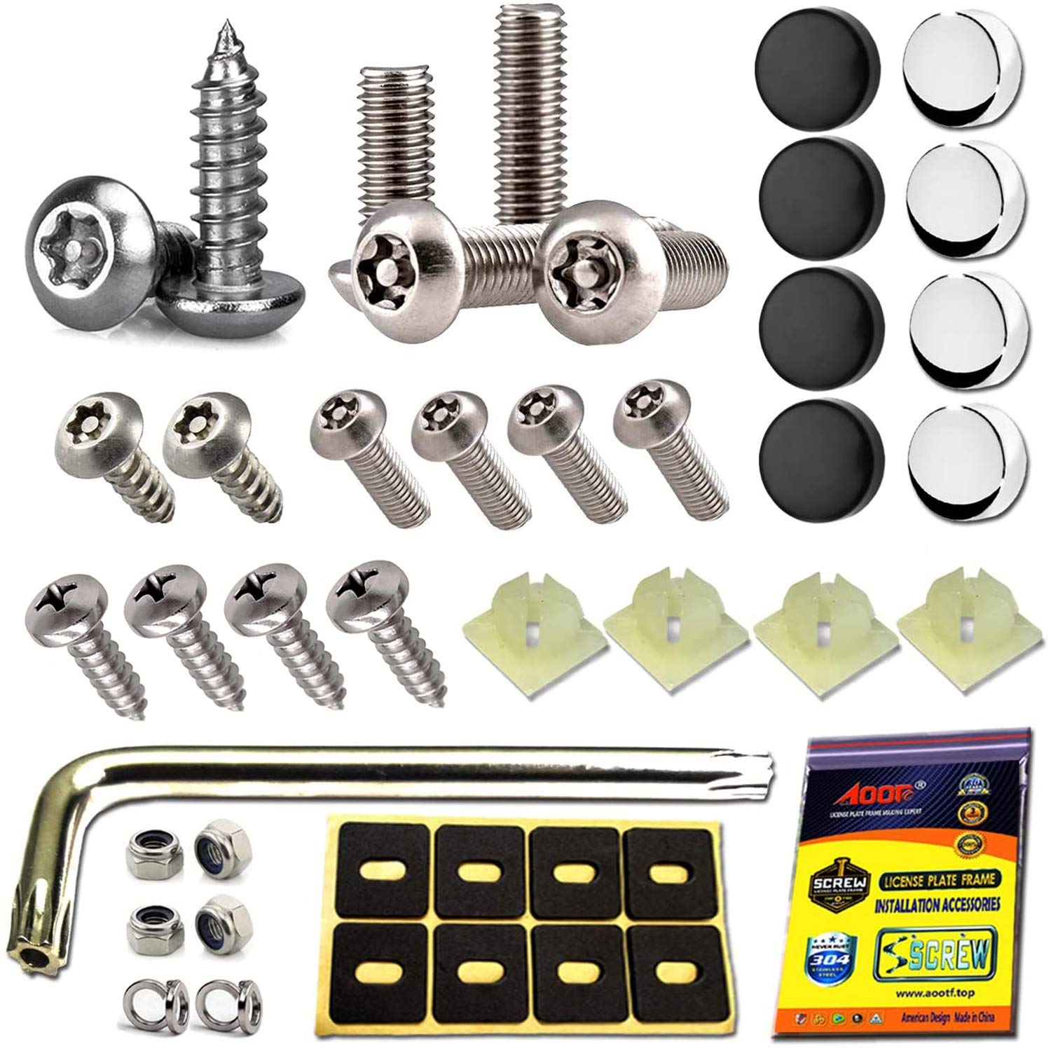 4Pcs Car Stainless Anti Theft Anti-Tamper License Plate Screws Durable Security