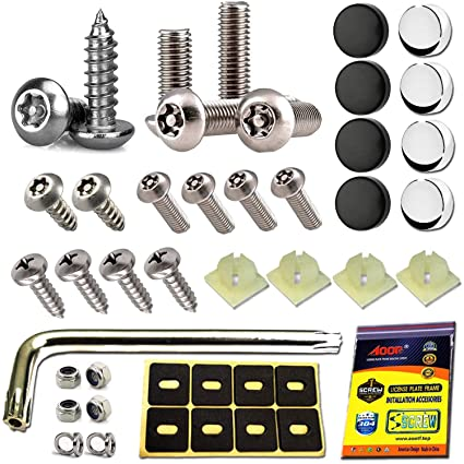 BLACK *** BETTER SECURITY THAN PADS *** 6 x NUMBER PLATE FIXING BOLTS /& NUTS