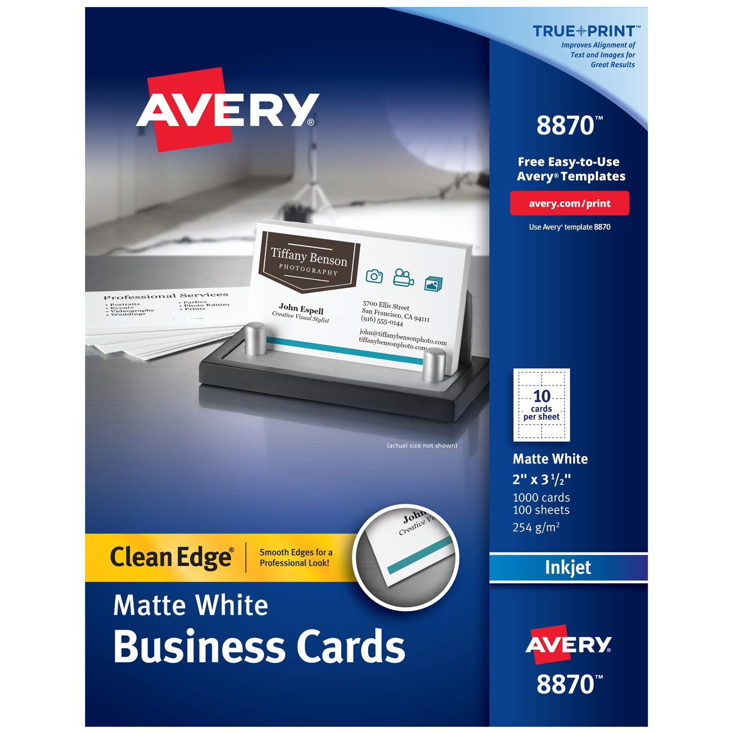 Avery Two-Side Printable Clean Edge Business Cards for Inkjet Printers, White, Matte, Box of 1000 (8870) AVE8870