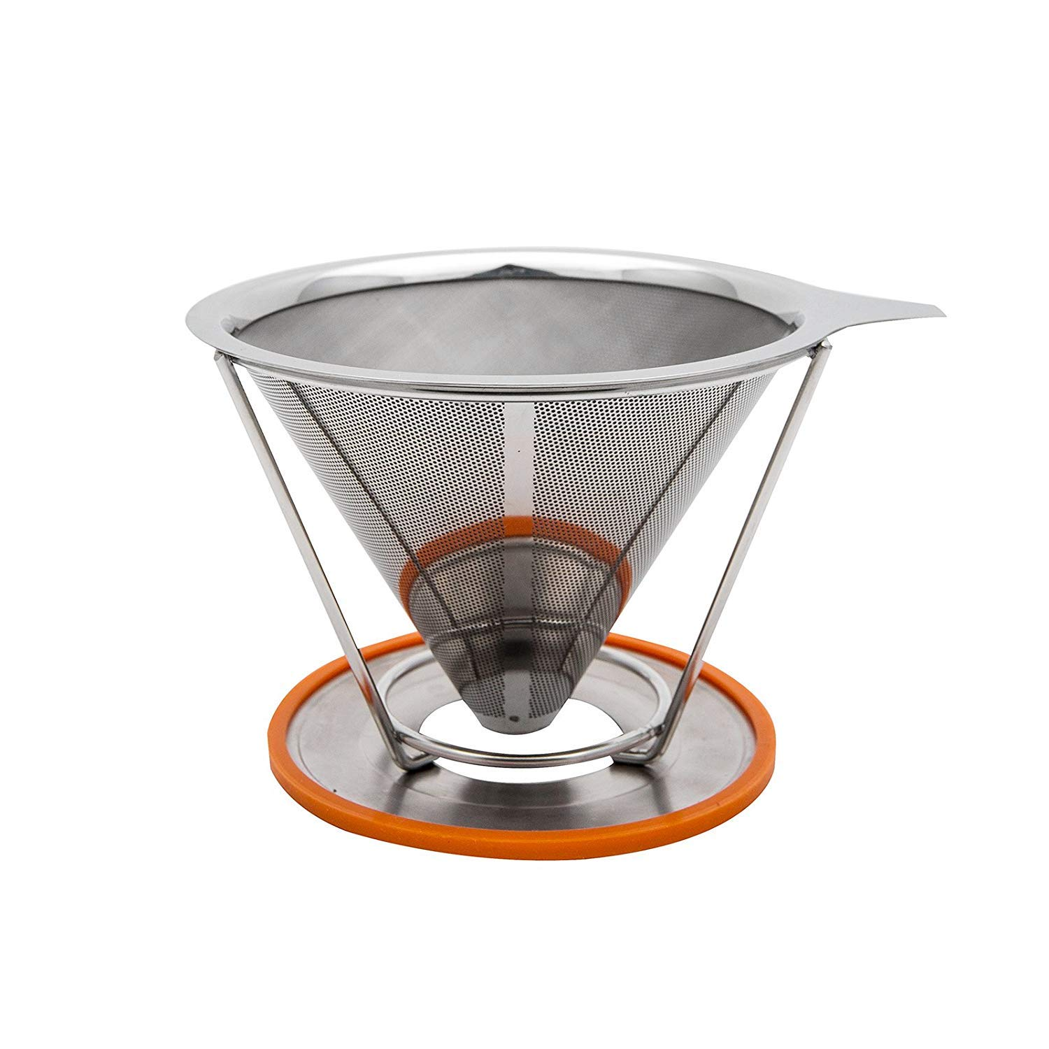 TOPHOMER Pour Over Coffee Cone Dripper - Stainless Steel Coffee Maker - Double Mesh Reusable Filter - Single Cup Coffee Brewer - No Need For Paper - with Cup Stand Coffee Maker&Brewer