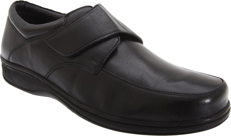 Roamers - Zapatos de piel para pies anchos Modelo Wide Fitting diseño con con cierre de velcro Hombre Caballero - Vestir / Trabajo
