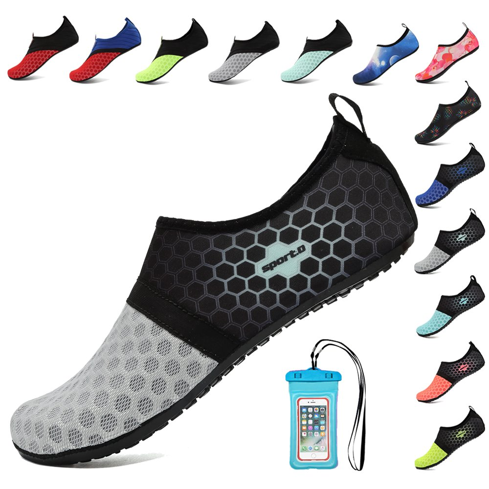 HooyFeel Breathable Water Shoes for Women Men Quick Dry Aqua Beach Shoes Barefoot Skin Shoes with Phone Waterproof Bag