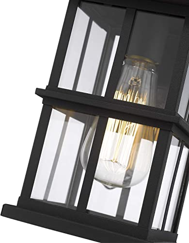 Zeyu Outdoor Wall Light, Exterior Wall Sconce Lantern Lighting for Porch, Black Finish with Clear Glass Shade, 20074B1