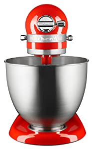 The tilt head locks into place and works in the stainless steel bowl