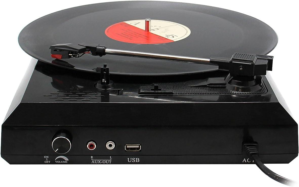 Unotec Tocadiscos y conversor Mp3 con salida de audio y USB ...