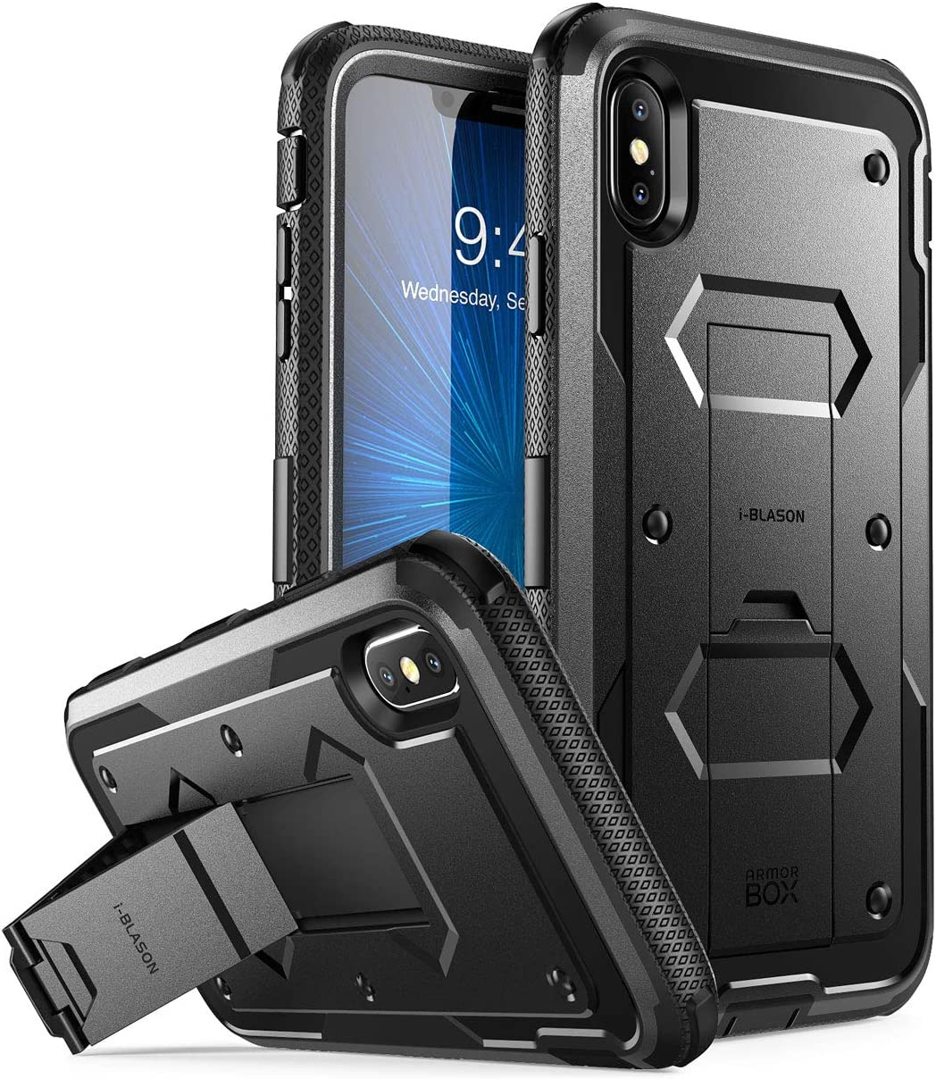 i-Blason Case for iPhone Xs Max 2018 Release, Built in Screen Protector Armorbox Full Body Heavy Duty Protection Kickstand Shock Reduction Case (Black), 6.5""
