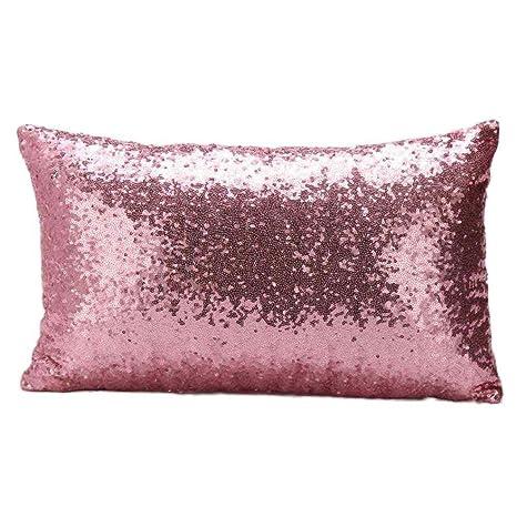 Logobeing Funda de Almohada 30 X 50 Cm Color Sólido Glitter Lentejuelas Para Sofá Cama Decoración Del Hogar Festival (Rosado)