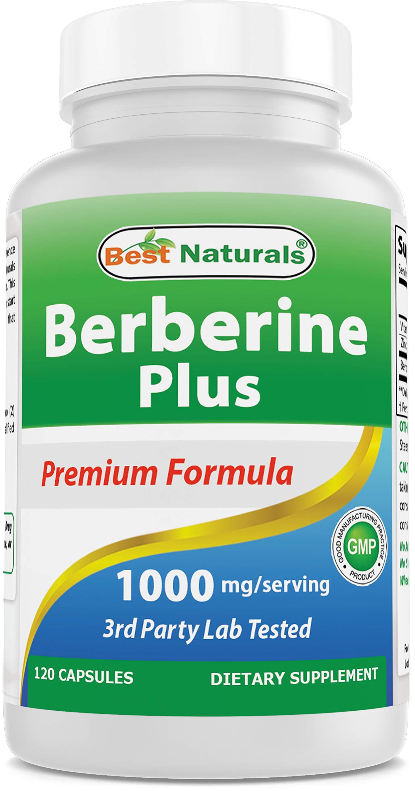 Best Naturals Berberine Plus 1000mg/Serving 120 Capsules - Promotes Healthy Healthy Glucose Metabolism & Immune Function - Contains Vitamin C & Zinc Gluconate