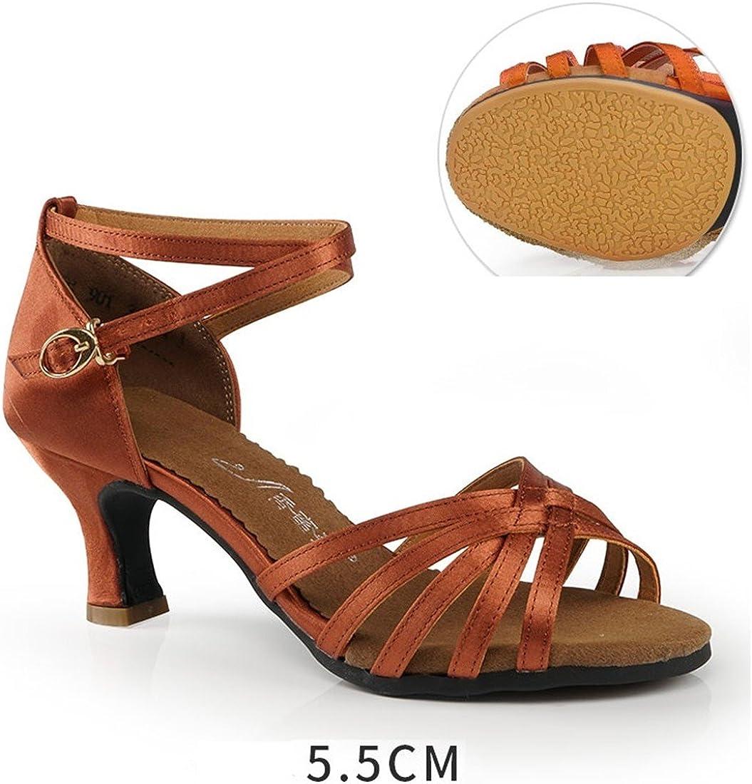 Dark Color Dance Shoe Adult 5.5cm Soft Bottom Dance Shoes Practice Beginner Dance Outdoor Womens Shoes WXMDDN Latin Dance Shoes