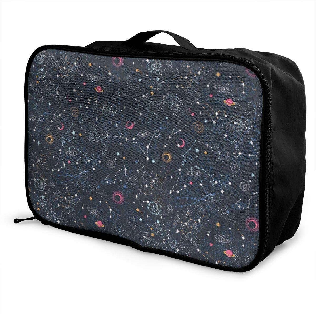 ADGAI Star Clusters Galaxies Canvas Travel Weekender Bag,Fashion Custom Lightweight Large Capacity Portable Luggage Bag,Suitcase Trolley Bag