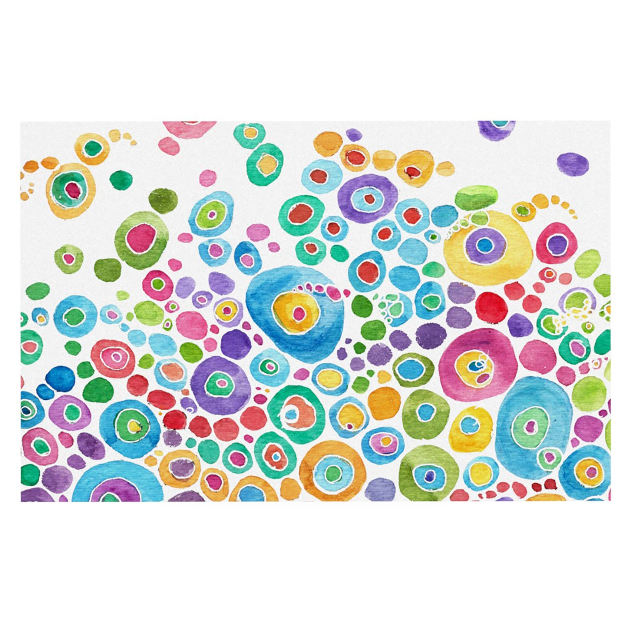 Kess InHouse Catherine Holcombe Inner Circle White Feeding Mat for Pet Bowl, 18 by 13-Inch