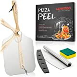 LEWINGO Aluminum Metal Pizza Peel 12 inch x 14 inch, Large Pizza Paddle with Foldable Wood Handle and 14 Inch Pizza Cutter Ro