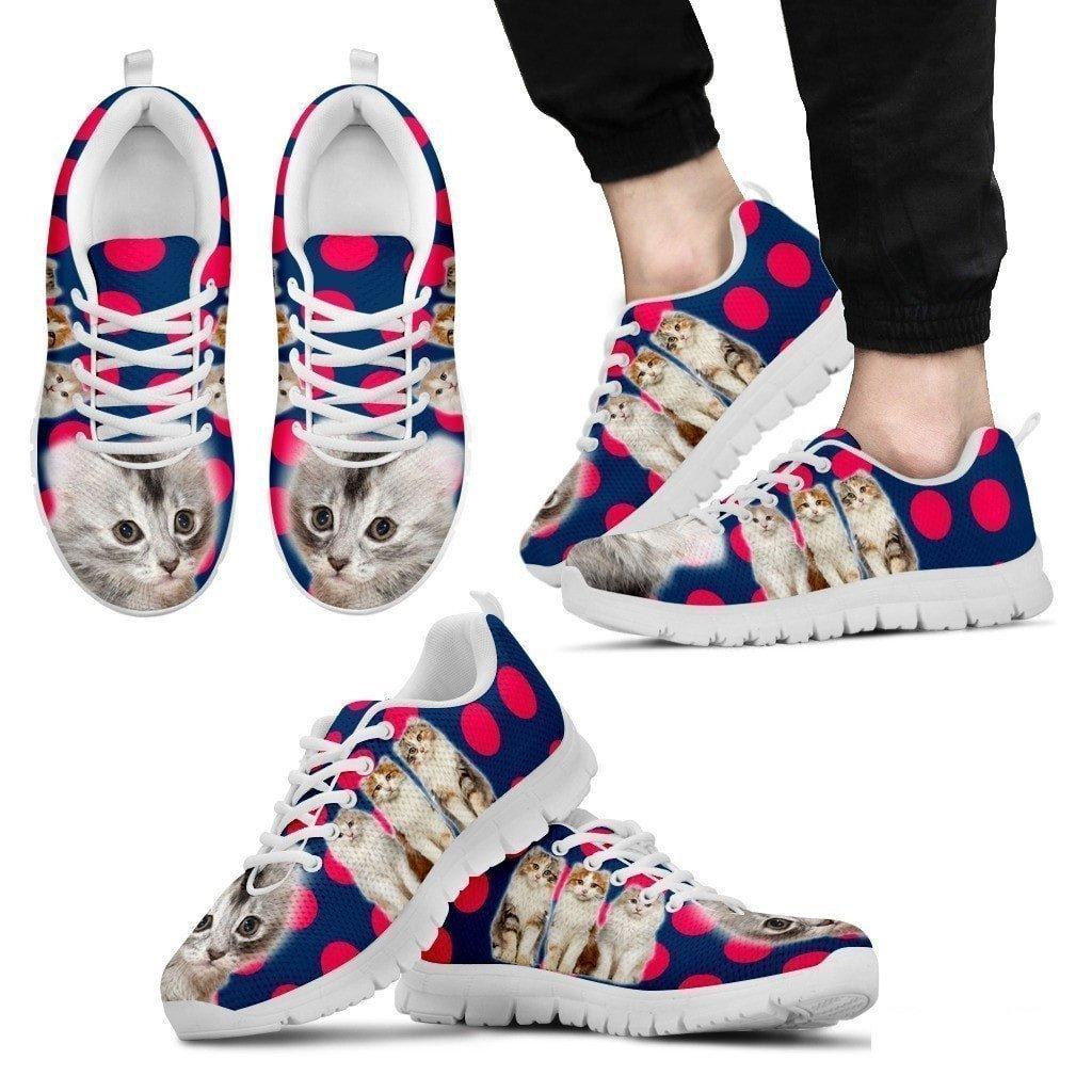 Beautiful American Curl Cat Print Sneakers for Men-Lightweight Shoes