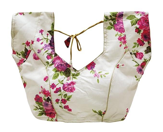 PEEGLI Blusa De Sari De Las Mujeres Indias Blusas De Sari Cosidas Algodón
