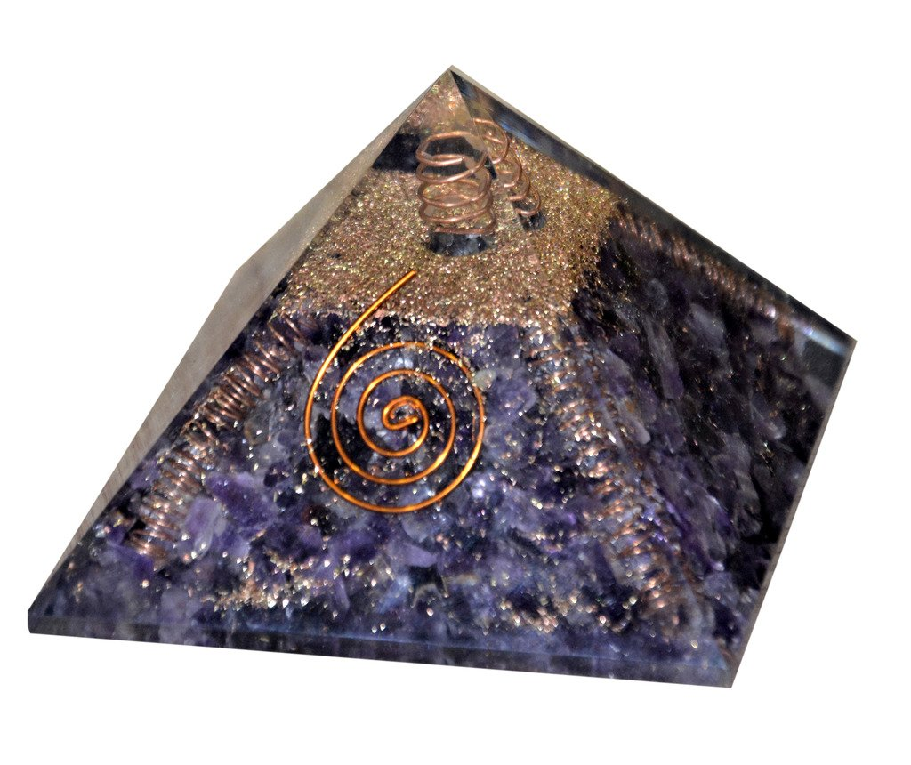 Aatm Reiki Energized Chakra Healing 4 Side Coper Coil Amethyst Orgone Pyramid With Clear Crystal Gemstone/EMF Protection Meditation Yoga Energy Generator''Stone For Luck & Wealth''