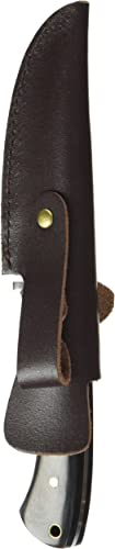 Elk Ridge – Outdoors Fixed Blade Knife – 8.5-in Overall, 3.75-in Mirror Polished Stainless Steel Blade, Full Tang, Jig Bone and Black Wood Handle, Leather Sheath – Hunting, Camping, Survival – ER-087