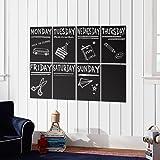 Atalanta Durable Weekly Wall Planner Vinyl Chalkboard Sheet Wall Decal Blackboard Set of 8 with 1 White Color Liquid Chalk Marker
