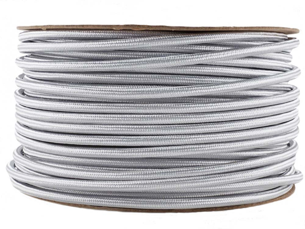 fabric lighting cable 3 core. Silver Fabric Cable | Coloured Flex 3 Core Round: Amazon.co.uk: Lighting
