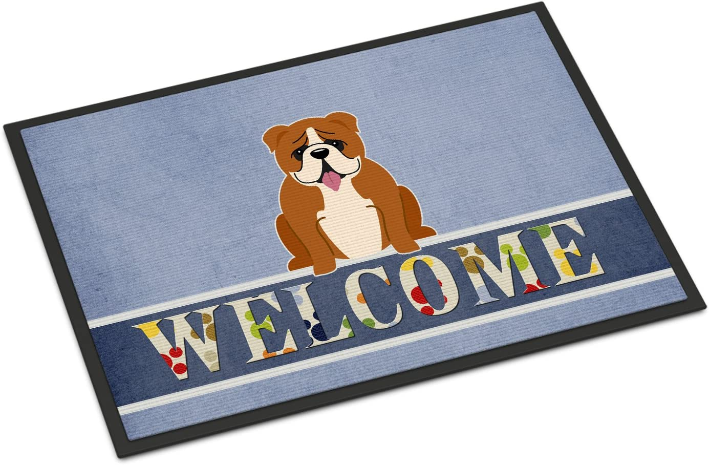 Caroline s Treasures BB5701MAT English Bulldog Red White Welcome Indoor or Outdoor Mat 18×27, 18H X 27W, Multicolor