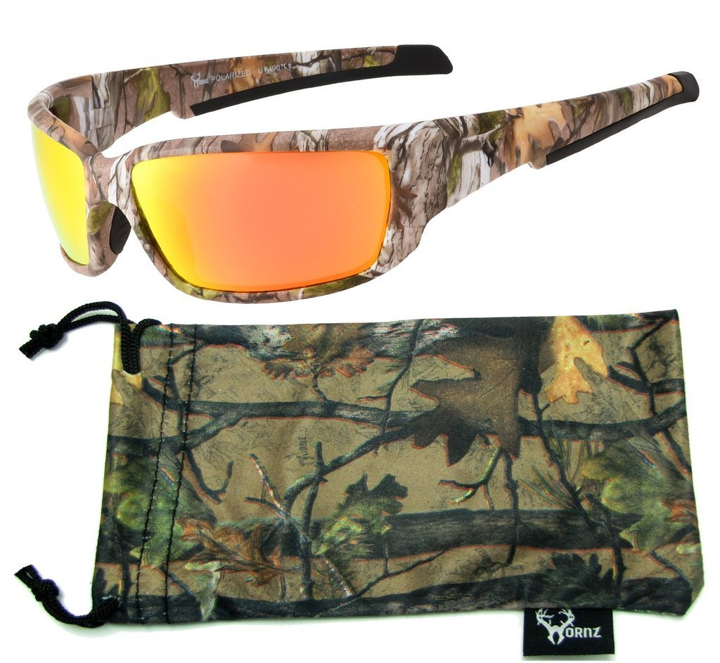 Hornz Brown Forest Camouflage Polarized Sunglasses for Men Full Frame Strong Arms & Free Matching Microfiber Pouch – Brown Camo Frame – Orange Lens