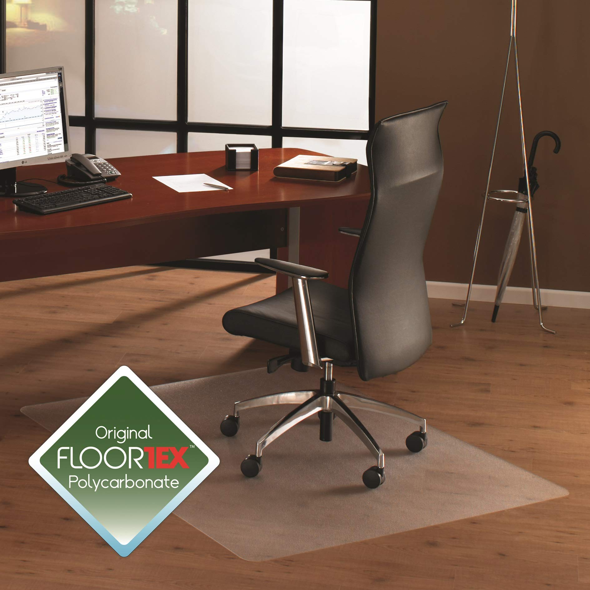 Floortex Cleartex Ultimat Polycarbonate Chair Mat for Hard Floors/Carpet Tile, 48'' x 48'', Square, Clear (1212119ER) by Floortex