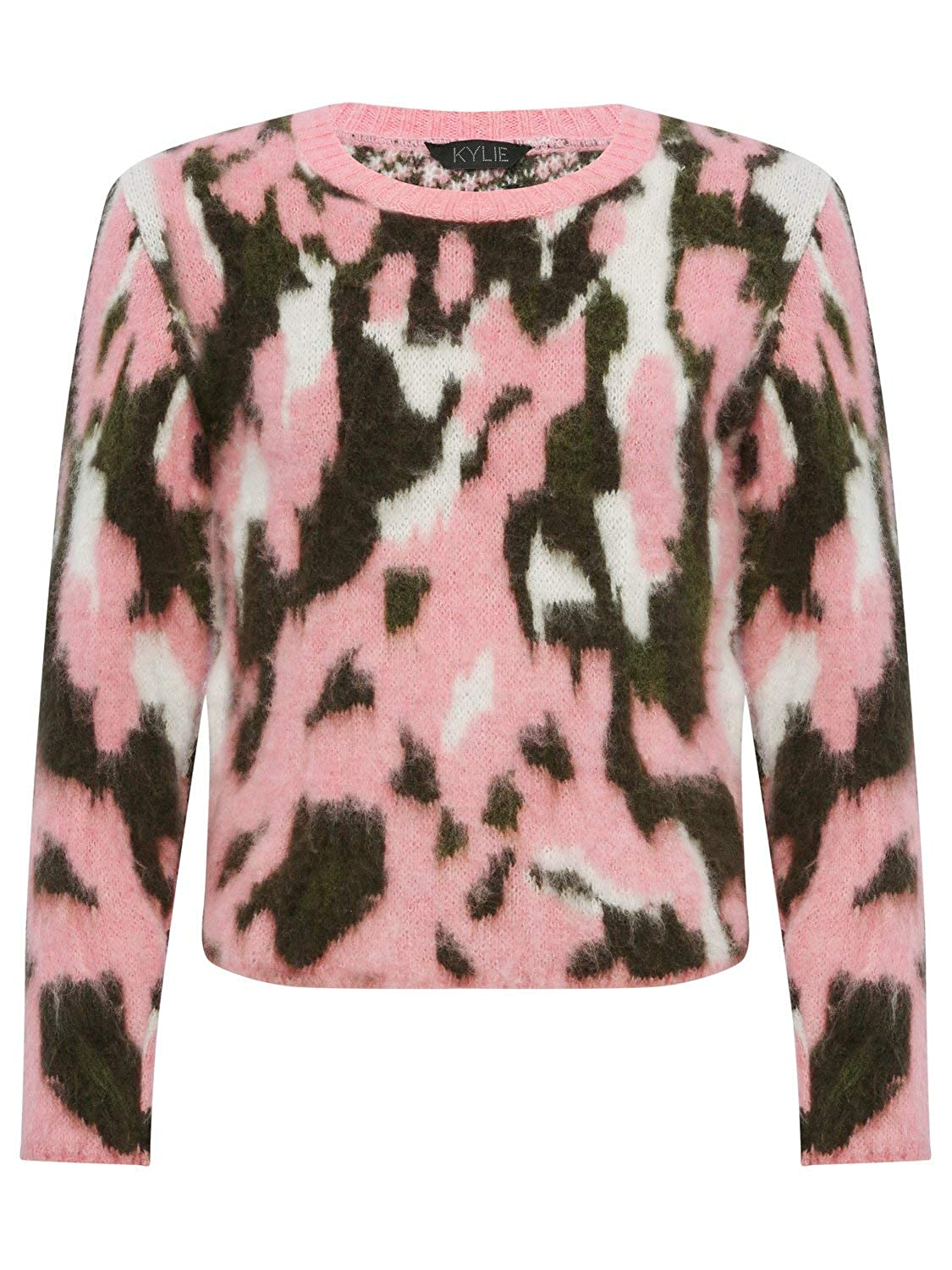 M&Co Teen Girls Long Sleeve Soft Brushed Knit Camoflauge Ribbed Neckline Jumper