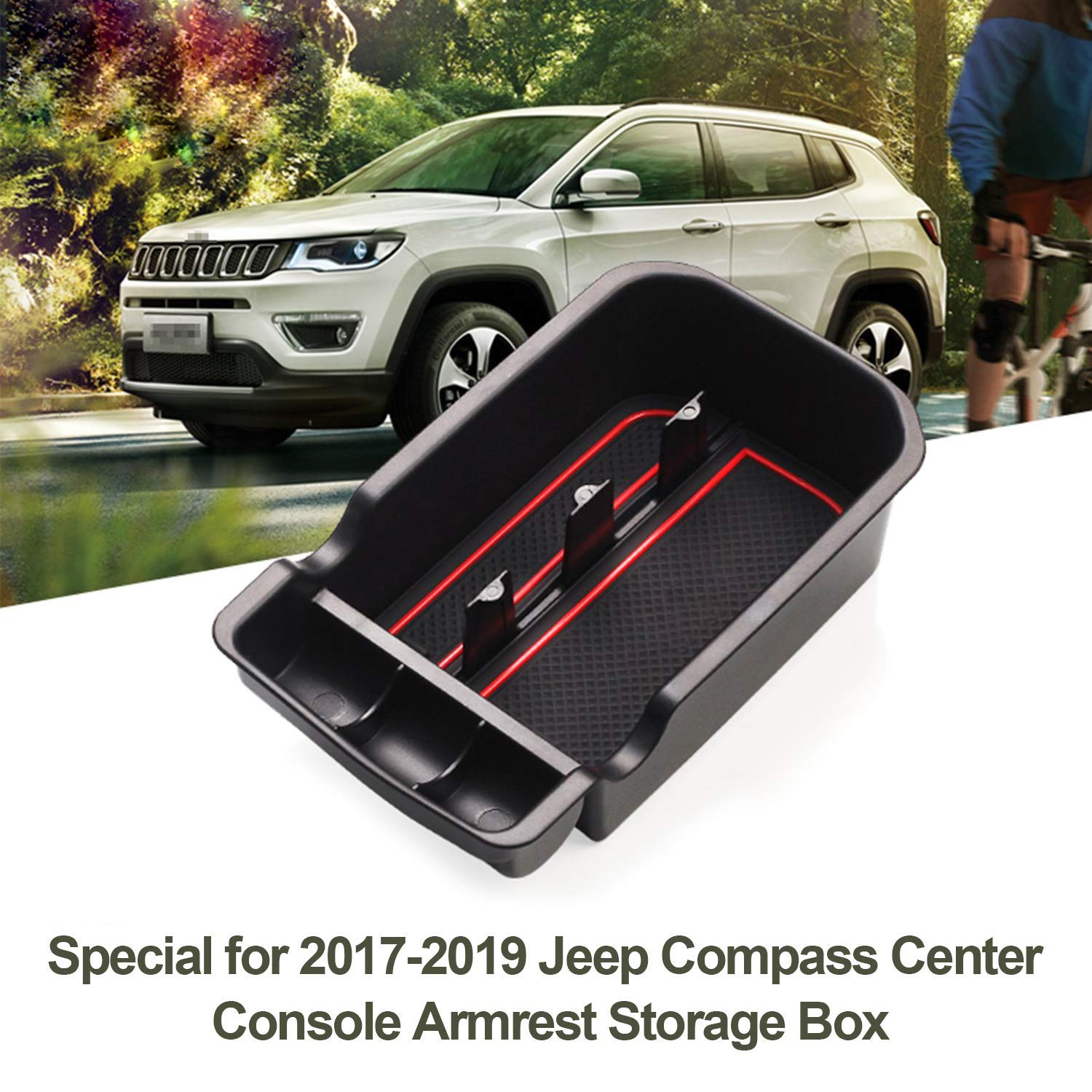 2017 2018 For Jeep Compass Interior Accessories Armrest Storage Glove Box Organizer Holder Container Black 1 Piece
