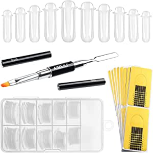 AIMEILI Poly Nail Extension Builder Gel Tool Nail Art Kit, 2 in 1 Poly Extension Gel Pen Brush, 100pcs Dual Nail Forms Clear Nail Molds, 10pcs Nail Extension Tips Form Guide Sticker