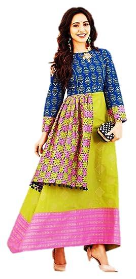 ab135a2c86 Image Unavailable. Image not available for. Colour: Kajal Style Women's  Mumtaz Loan Cotton Printed Kurti ...