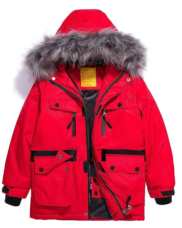 Wantdo Boys' Waterproof Ski Jacket Parka Outdoor Warm Winter Coat