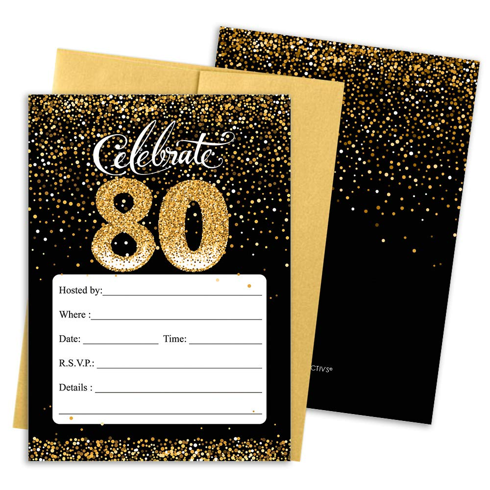 80th Birthday Party Invitation Cards with Envelopes, 25 Count (Black and Gold)