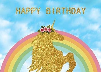 Amazon.com: 7 x 5ft unicornio cumpleaños telón de fondo ...